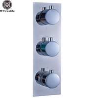 US Free Shipping Wholesale And Retail Polished Chrome Thermostatic Triple Shower Faucet Mixer Valve