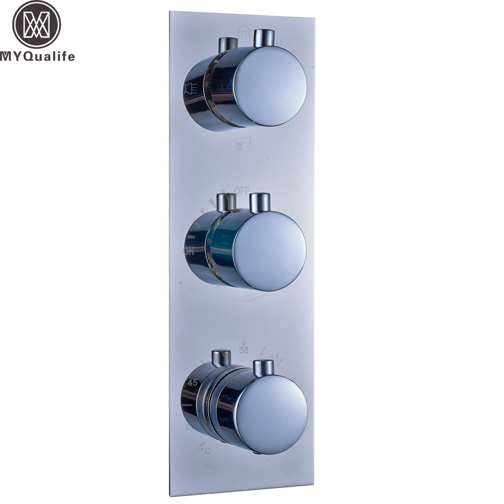 Polished Chrome Thermostatic Triple Shower Mixer Valve Wall Mounted 3 Handles Thermostatic Control Valve Cartridges polished chrome wall mount temperature control shower faucet set brass thermostatic mixer valve with handshower