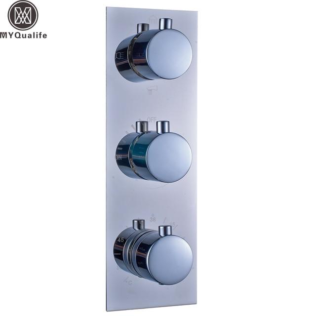 Aliexpress.com : Buy Polished Chrome Thermostatic Triple Shower ...