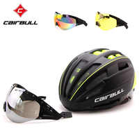 CAIRBULL Bicycle Helmet EPS+PC TT Goggle Lens Cycling Helmet Ultralight Integrally molded Bike Helmet With 3 Lens