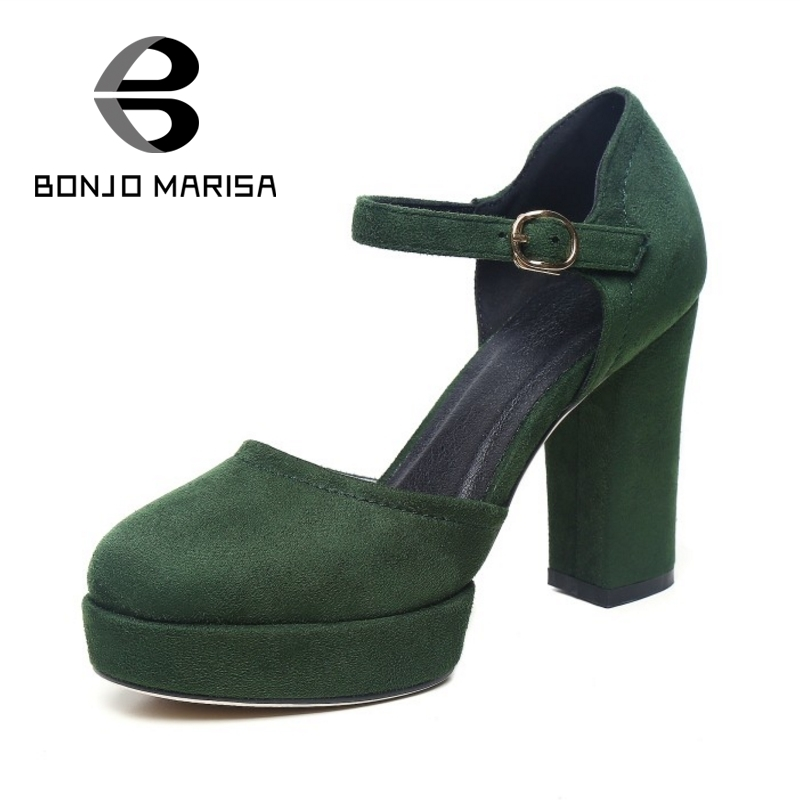 ФОТО BONJOMARISA Big Size 32-42 Women Mary Jane High Heel Sandals Flock Upper Round Toe Platform Summer Party Wedding Woman Shoes