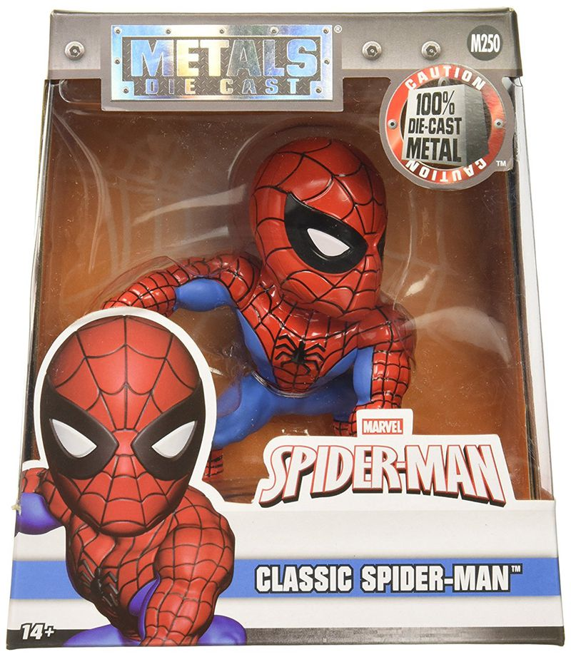 "Brand New Pop Metals Marvel 4"" Classic Figure - Spiderman Spring Head Bobble Spider Man Doll Action Collectible Model Toy"