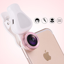 Selfie Flash Gentle cell Telephone Lens zero.62X Broad Angle 15X Macro Lens For iPhone 7 6S SE Samsung S8 S7 edge Xiaomi Digicam lenses