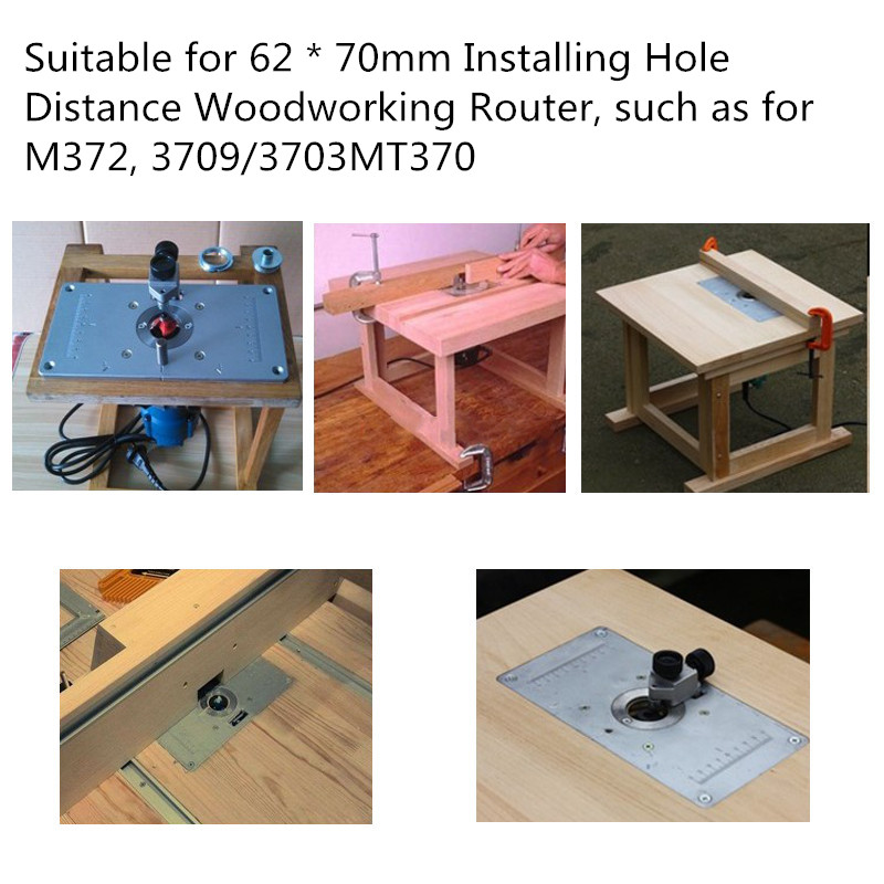 Aluminum router table insert plate with 4pcs router insert rings 1x router table insert plate 4x router insert rings 1x pack of fixing screws greentooth Image collections