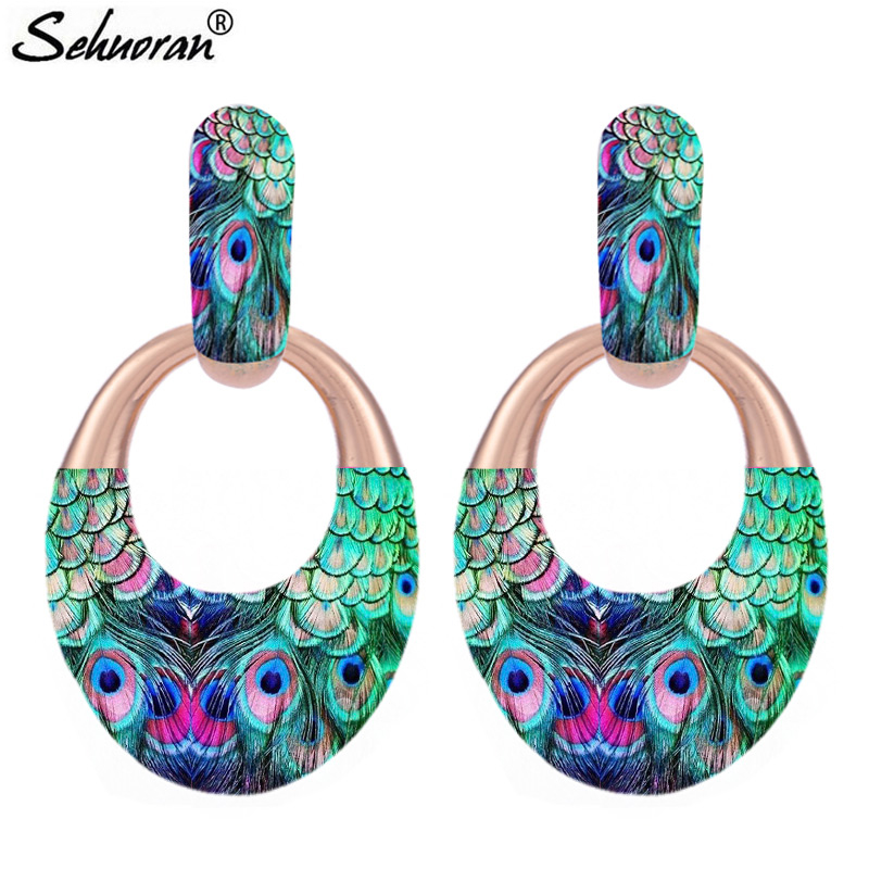 Sehuoran Oval Pendients Boho Drop Earrings For Woman Big Earrings Statement Earrings Fashion Jewelry 3d printing women classic forever brand mochila escolar drawstring backpack travel mochilas drawstring bag