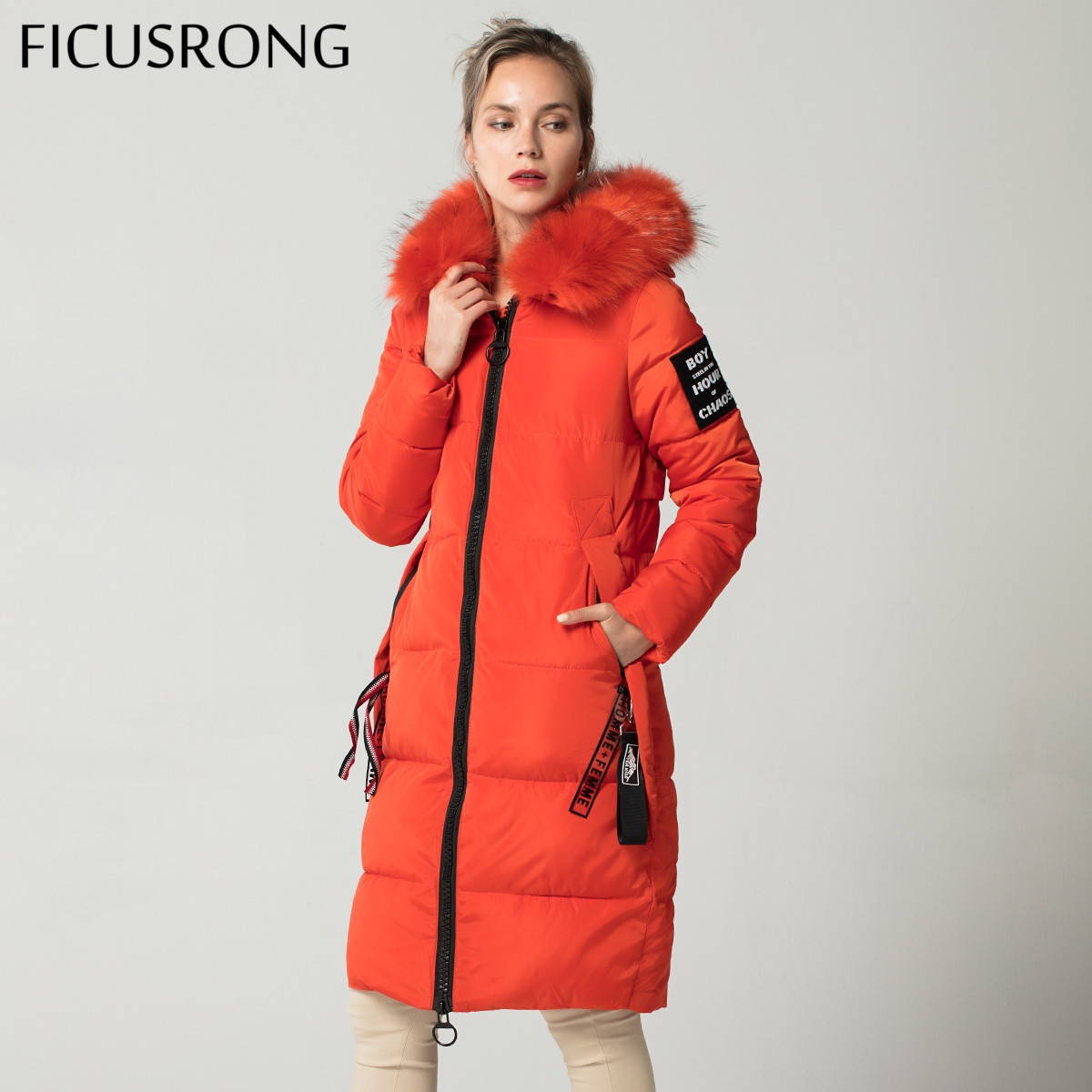 FICUSRONG New Fashionable ORANGE Warm Fur Parkas Long Winter Jacket Women Thicken Slim Female Jacket Winter