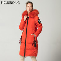 FICUSRONG New Fashionable ORANGE Warm Fur Parkas Long Winter Jacket Women Thicken Slim Female Jacket Winter Women Hooded Coat