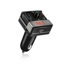 A7 5V 2.1A Dual USB Car Charger with FM Transmitter AUX Music Player Support TF Card U Disk Playback Handfree Kit