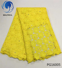 BEAUTIFICAL guipure lace fabric 2018 african yellow nigerian fabrics with rhinestones and beads 5 yards/piece PG160
