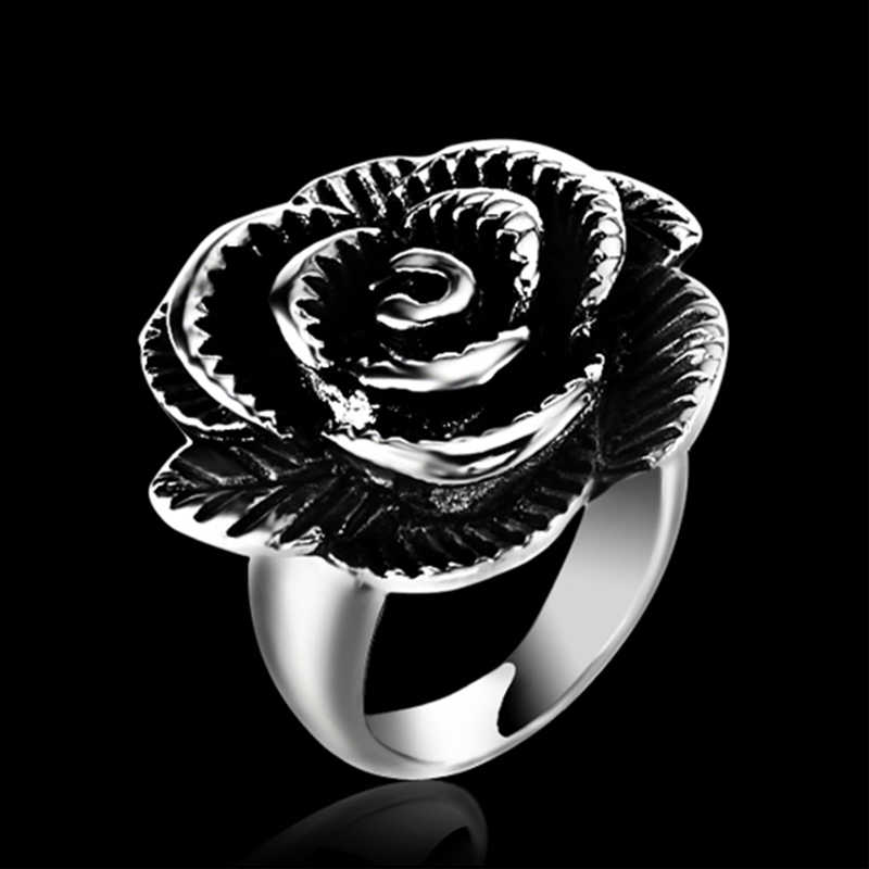 RIR חדש הגיע נקבה נירוסטה טבעת אופנתי פשוט תכשיטי נשים גבירותיי רוז פרח מפואר טבעות למסיבה & מתנות