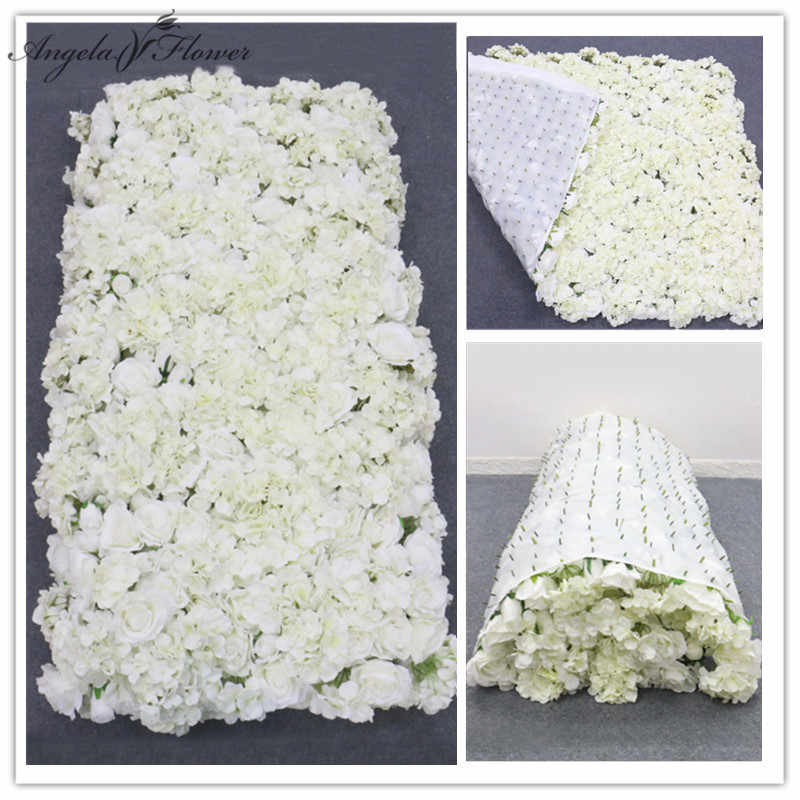 3d Creative Flower Wall Made With Fabric Be Rolled Up Artificial Flower Arrangement Wedding Backdrop Wall Decor Hydrangea Rose Artificial Dried Flowers Aliexpress