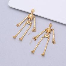 2019 серьги Tassel Earrings Gold Color Skeleton Design Earrings for Women Long Drop Earrings Dangle Drop Earrings Jewelry gold color with green gray pink tassel drop earrings
