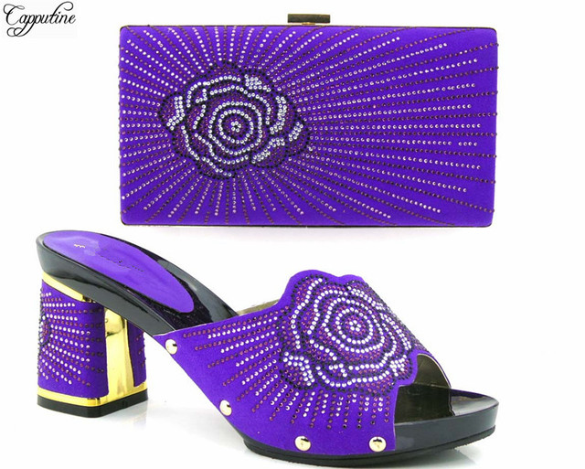 Most Por Lady Party Sets African Pump Shoes With Clutch Bag Nice Design Stones Th16
