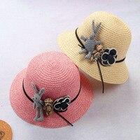 Tendencja Blok słońce dziecko dziewczynka chłopiec lato kapelusz Stałe kolor Kreskówki lalek plamy Meng księżniczka curling słomy kapelusz na plaży lm27