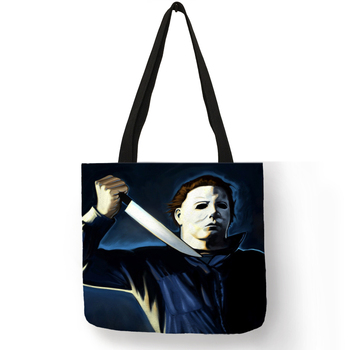 Fanximan Personalized Folding Reusable Shopping Tote Bag Horror Michael Myers  Jack Sally Shoulder Bags tote bag
