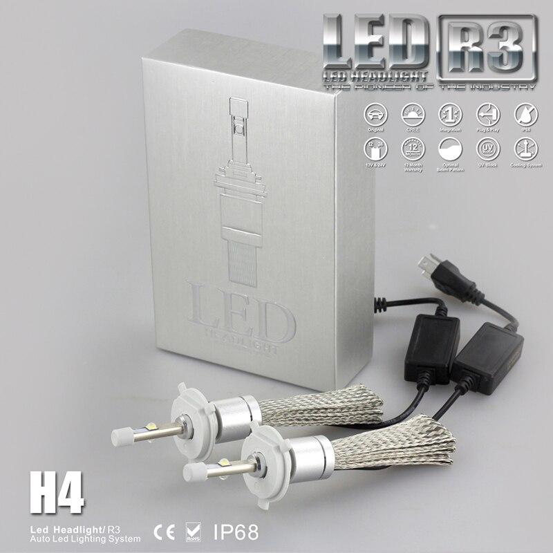 2 шт. супер яркий <font><b>R3</b></font> <font><b>9600lm</b></font> H4 фар комплект XHP-50 СИД автомобиля Белый 6000 К автомобильные лампы фар