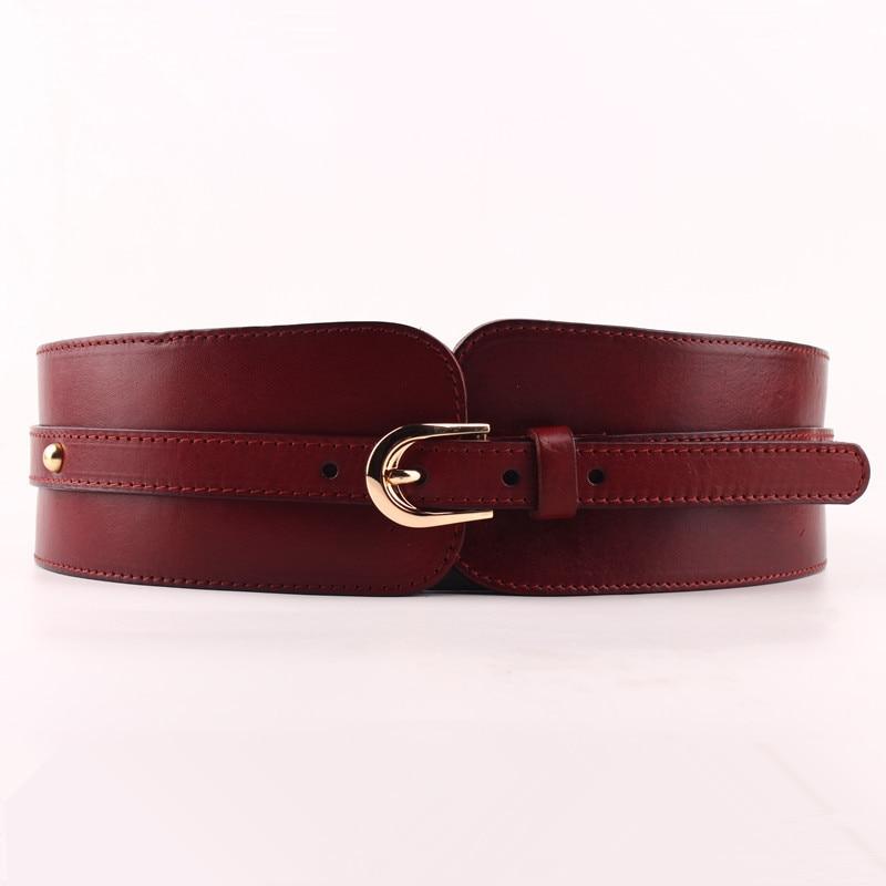 100% Cowskin Wide Belt For Women High Quality Ceinture Femme Elastic Waistband Female Vintage Genuine Leather Belt Buckles-in Women's Belts from Apparel Accessories