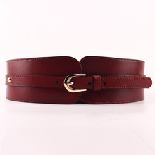 Cinturón ancho de piel de vaca 100% para mujer, cinturón elástico de alta calidad, hebillas de correa de cuero auténtico Vintage para mujer