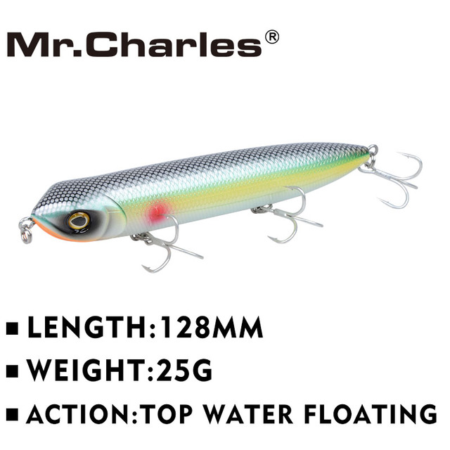 Best Price Mr.Charles CMC018 Fishing Lure 128mm/25g Floating Top Water Assorted Colors Popper Wobbler Hand Lure Fishing Tackle