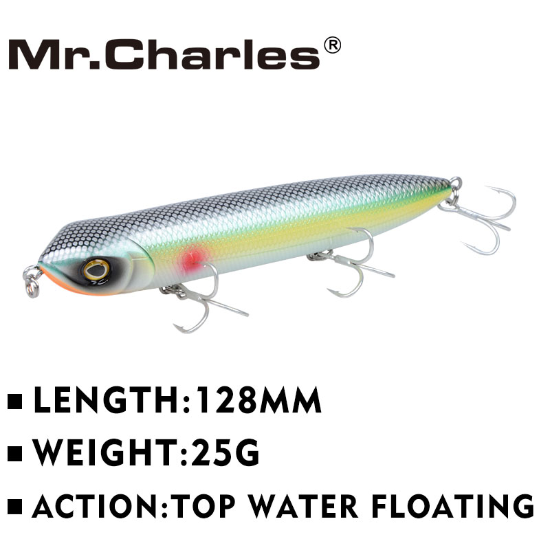 Mr.Charles CMC018 Fishing Lure 128mm/25g Floating Top Water Assorted Colors Popper Wobbler Pencil Lure Hand Lure Fishing Tackle