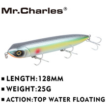 Mr.Charles CMC018  Fishing Lures2015  Fishing Lures, Assorted Colors, Popper 128mm 25g, Floating,topwater