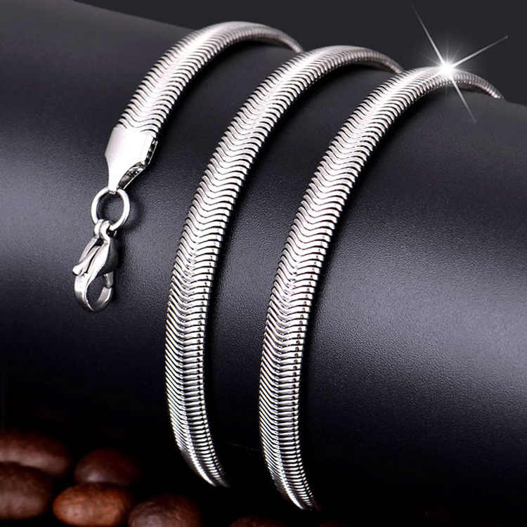 Amgj 2/4/6/8mm Width Stainless Steel Snake Chain Necklace Silver Color for Boy and Girl High Quality Free Shipping