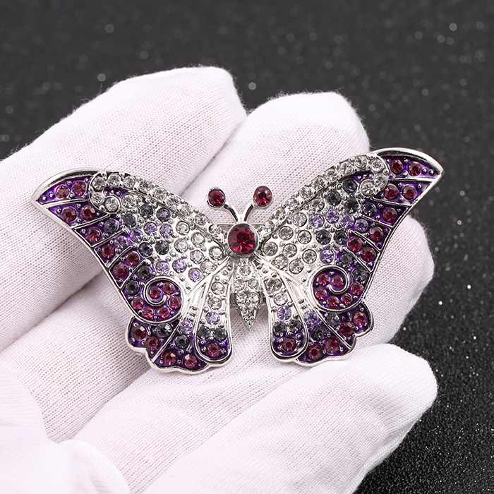 Empress Monarch Winged Butterfly Purple Crystal Rhinestones Brooches Bride Brooch Insect Broches Clothes Accessories Corsage