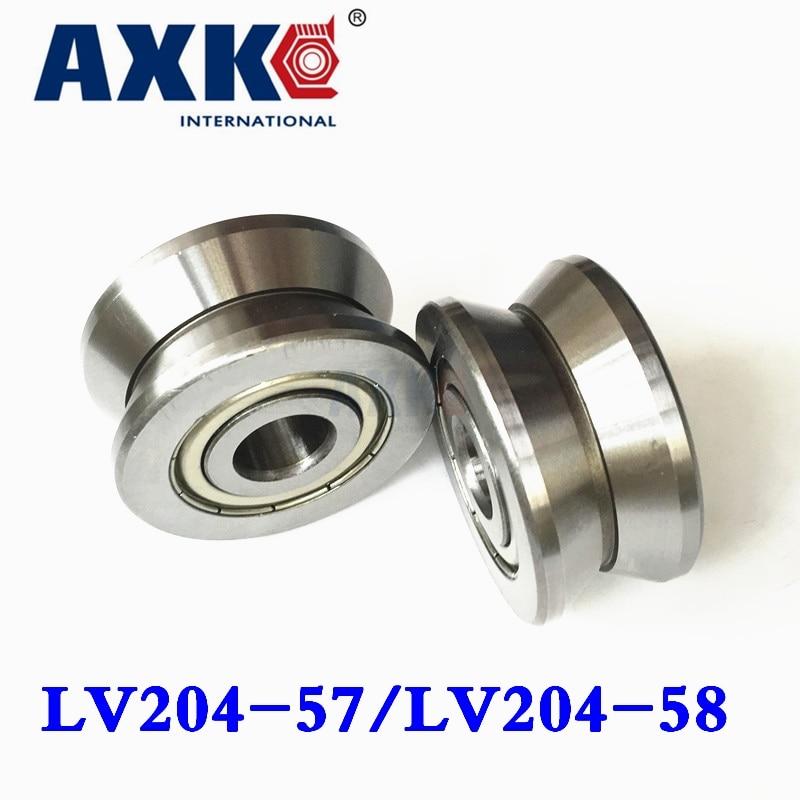 Ball Bearing Axk V Groove Guide Roller Bearings Lv204-58 Zz Lv-58 Lv204 Lv204-57zz Lv-57 Rv204/20.58-30 20*58*25mm 20*57*22mm tv0630 tv0630vv v groove pulley ball bearings 6 30 8 mm track guide roller bearing