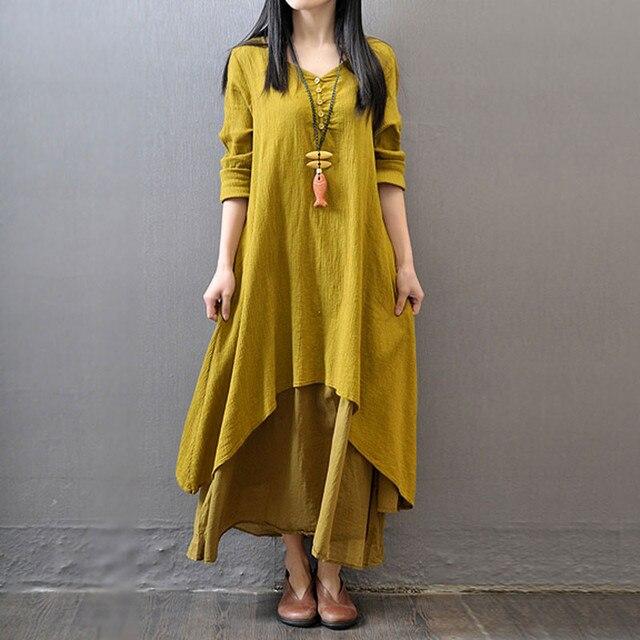 Button Down Shirt Dress ZANZEA 2019 Women's Sundress Boho Maxi Dress Kaftan Long Vestidos Female Asymmetrical Robe Plus Size 5XL