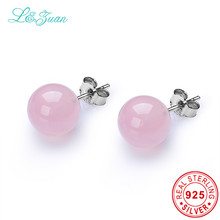 l&zuan Pink Quartz Stone 925 Sterling Silver Stud Earrings Natural Powder Crystal Women Earrings Fine Jewelry