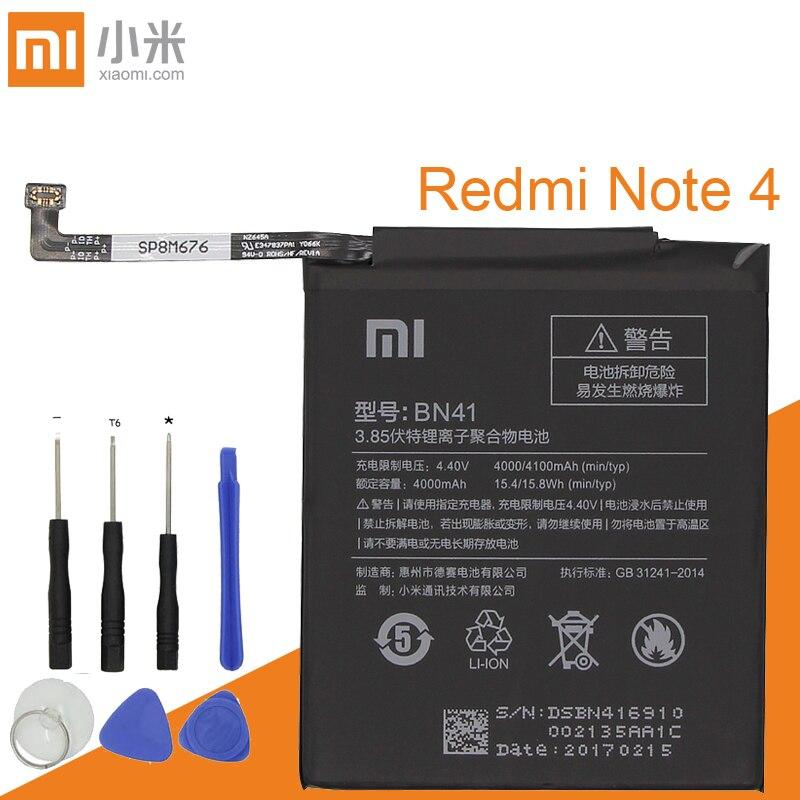 Xiao Mi BN41 Battery For Xiaomi Redmi Hongmi Note 4 / Note 4X MTK Helio X20 4000mAh Original Mobile Phone Batteries+Tools