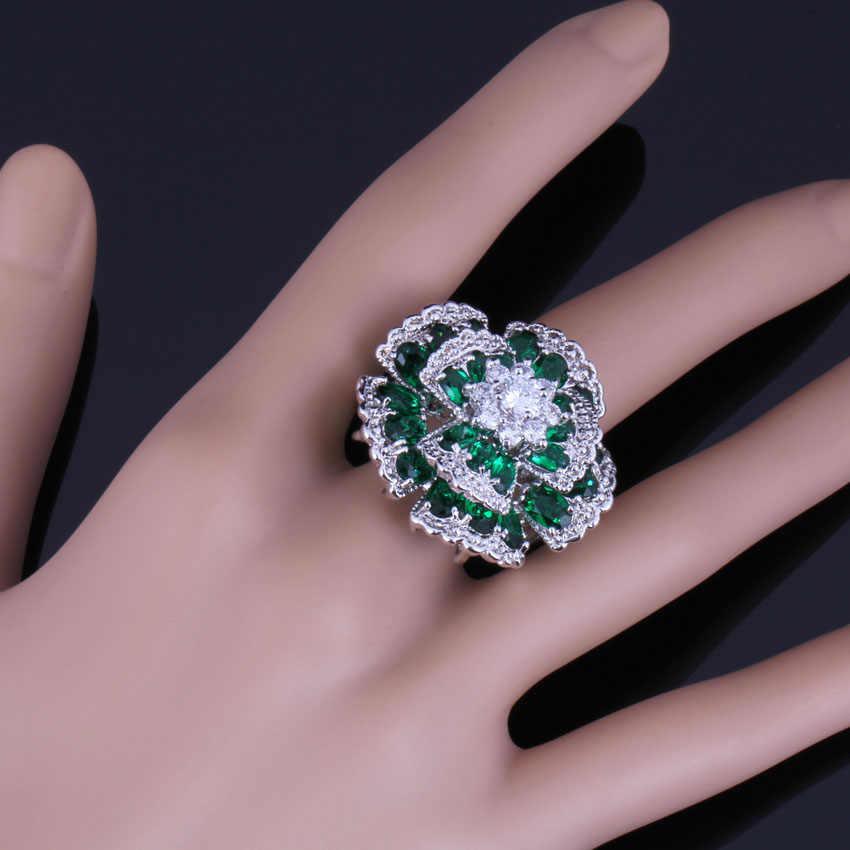 ที่หมุนเวียนในตลาดขนาดใหญ่ดอกไม้สีเขียว Cubic Zirconia สีขาว CZ 925 แหวนเงินผู้หญิง V0535