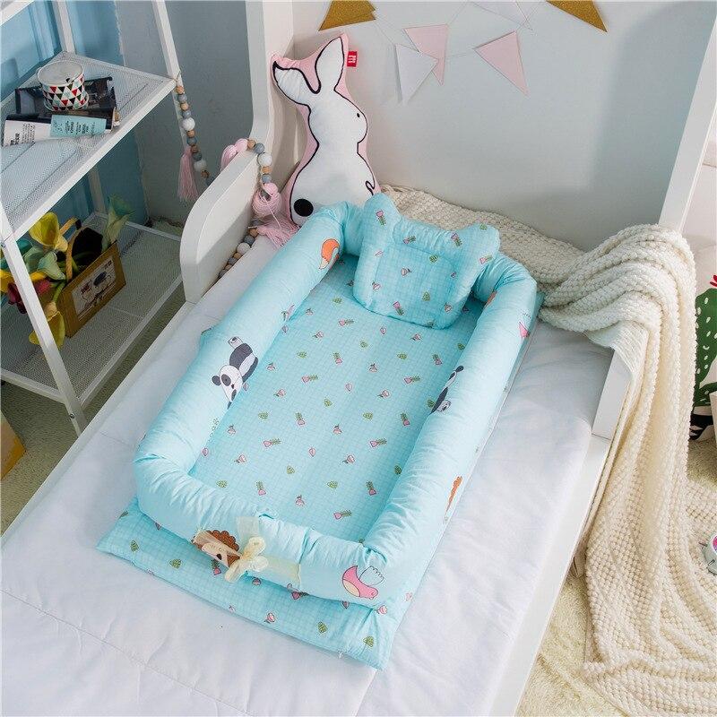 Ensembles de berceau de bébé avec oreiller pur coton nid de bébé voyage berceau lit berceau lits pour nouveau-nés Portable lavable - 2