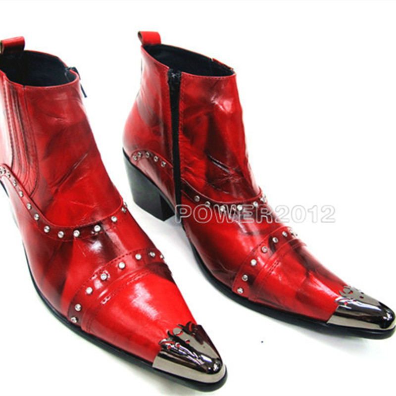 British Style Mens High Heel Boots Genuine Leather Shoes Red Black Military Boots Pointed Toe Dress Waterproof Winter Boots bryan perrett british military history for dummies