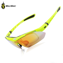 WOLFBIKE Professional Motorcycle UV400 Goggles Outdoor Sports Sunglasses Eyewear Polarized 5 Lens Bicycle Bike Cycling Glasses