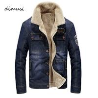 DIMUSI Winter Men Jacket Fashion Men Denim Jacket Fur Collar Thick Warm Jacket Coats Male Windbreaker