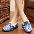 New Old Beijing embroidery Flats cloth Chinese wedding national Peach Blossom embroidered shoes Square dance single shoes