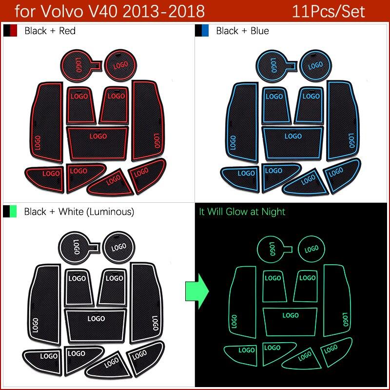 Противоскользящими резиновыми затворный слот, циновка чашки для VOLVO V40 V60 S60 S90 XC60 XC90 2013 автомобильные аксессуары наклейки