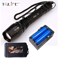 6000LM Flashlight LED CREE XM-L T6 Torch Zoomable Focus Tactical Flashlight Camping Light +2x18650 Battery+Charger
