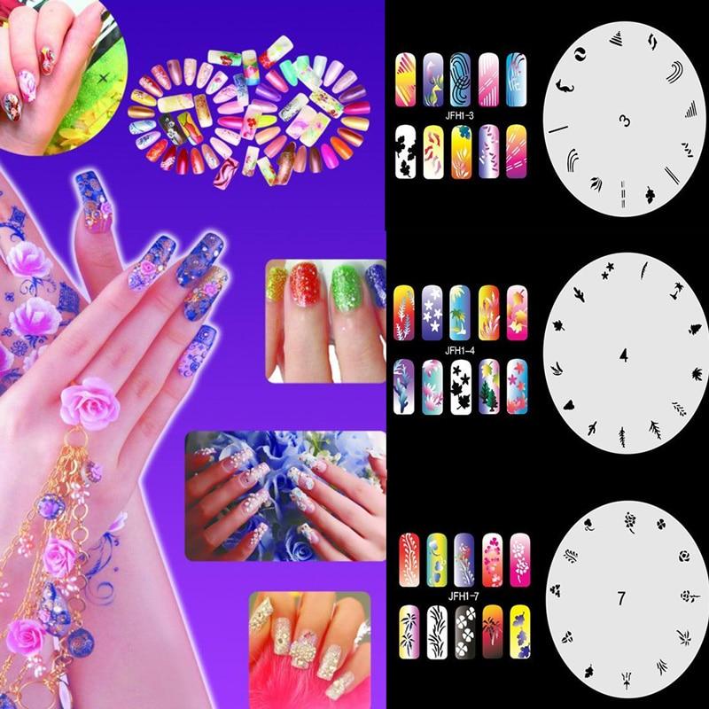 Hot Sale 10pcs/set New Fashion Airbrush Nail Art Stencil Sheet DIY ...