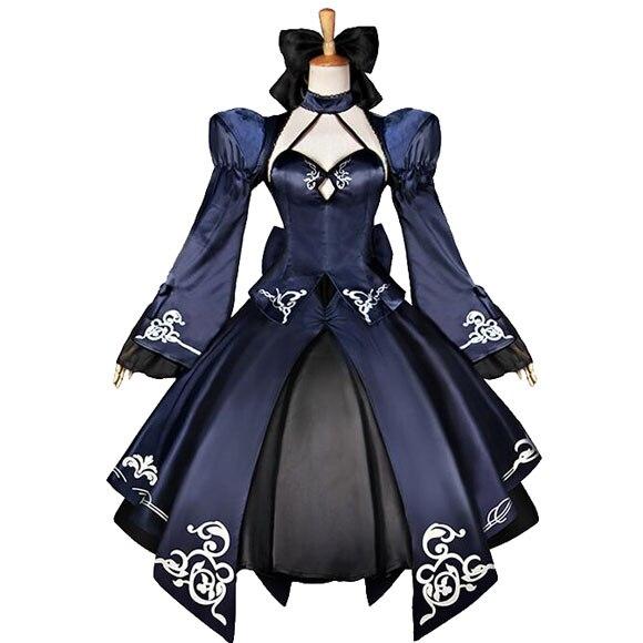 CospCosplay jeu japonais FGO destin/séjour sabre de nuit Nalter 2nd 10 e anniversaire robe noire (6 pièces) Cos vêtements