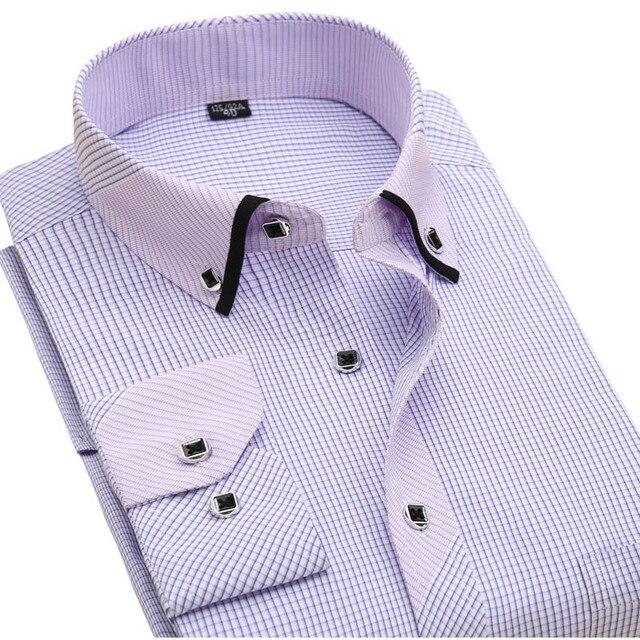 Новый 2017 Весна Полосатый Мужская Мода Рубашки С Длинным Рукавом Бренд Clothing Социального Без железа Деловых мужская повседневная Рубашка