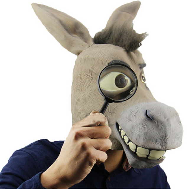 full face cosplay scary latex donkey mask animal masks masquerade adult ghost mask halloween props costumes - Scary Props