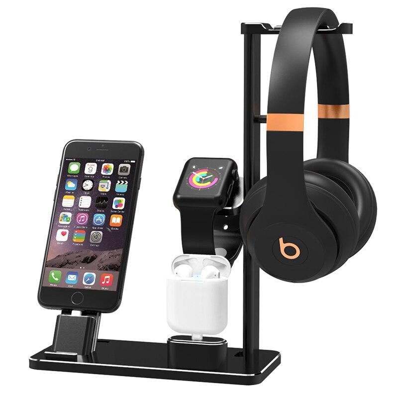 Support de charge en alliage 4 en 1 pour Apple Watch pour AirPods Station de chargeur d'écouteurs sans fil pour iPhone X/8 plus