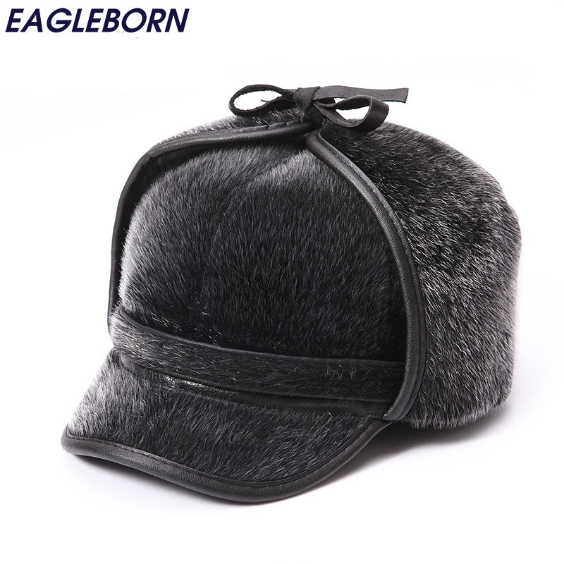 Winter Warm Fur Bomber Hats Mens