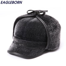 Winter Warm Fur Bomber Hats Men High Quality Russian Snow Hat with Earflaps Thicken Outdoor Bonnet for Men Retro Soft Foldable