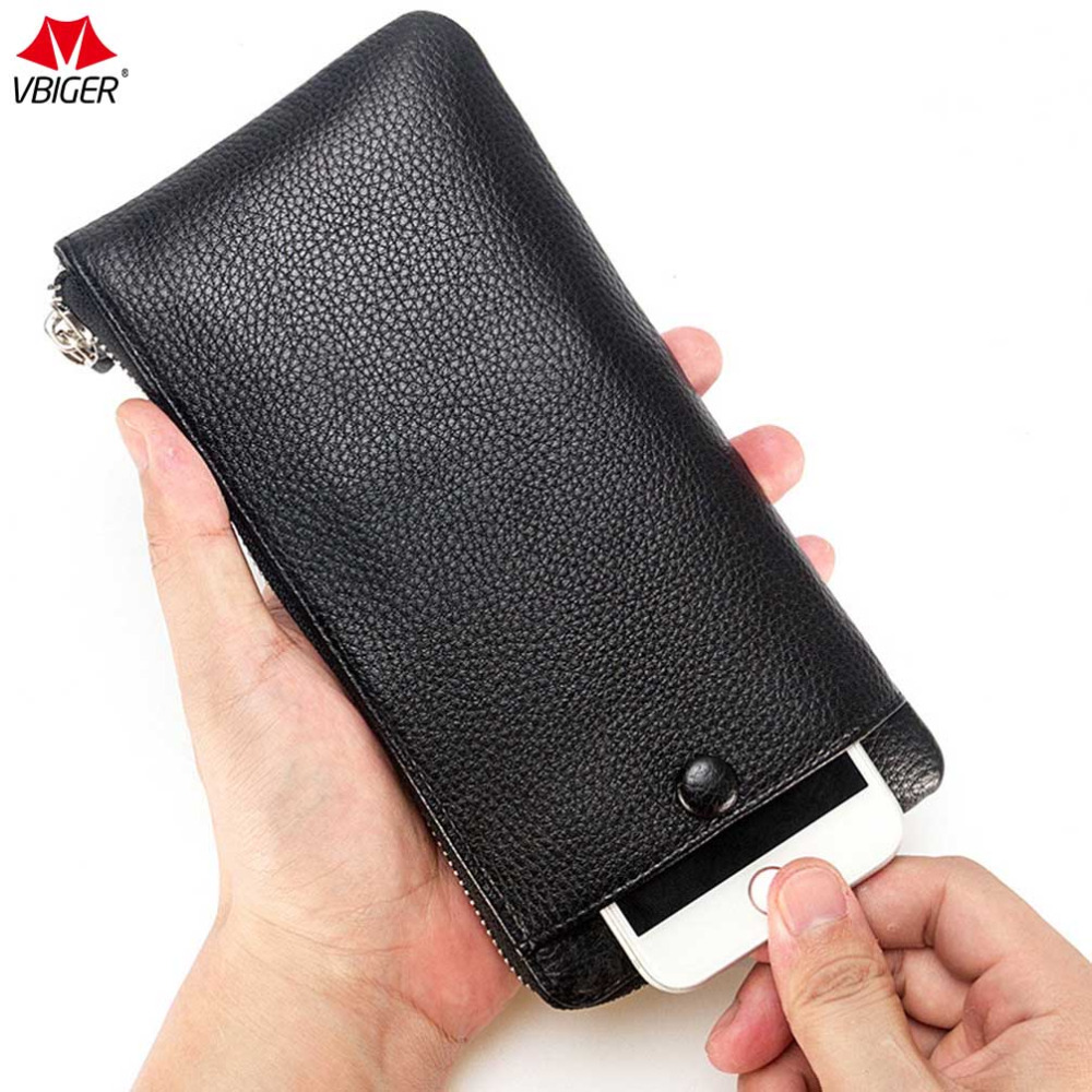 vbiger unisex long wallet high quality pu leather card holder purse ultra-slim clutch bag for men and women hot sale hold phone