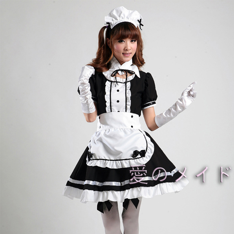 Black Sexy Lolita Maid Costume 4 Pieces Fantastic Apron Maid Dress Halloween Cute Doll Collar France Maid Costume Outfit