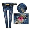 2015 красные губы тонкие рваные джинсы с низкой талией Джинсы женские Лоскутные Омывается женские джинсы Брюки Denim Тонкие сексуальные карандаш-брюки DXJ