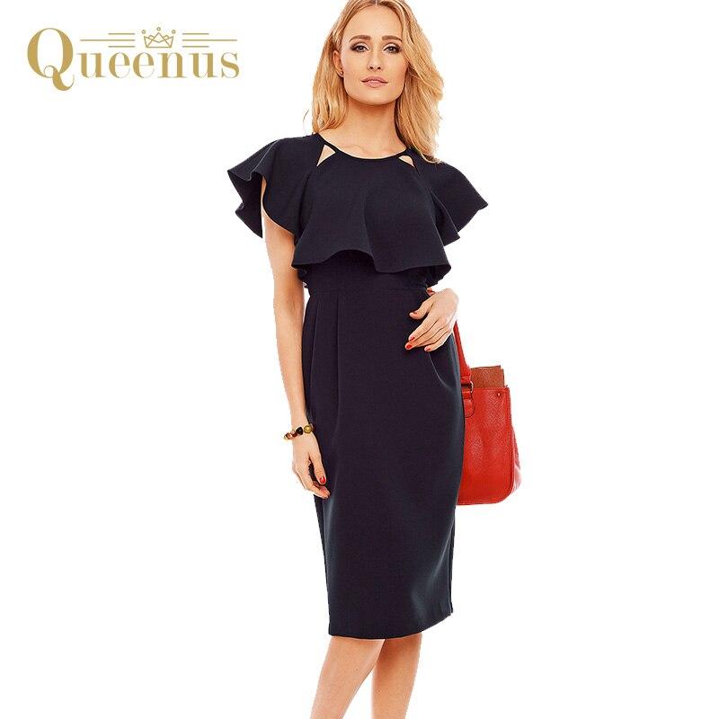 Queenus 2017 Women Summer Dress Office Day Work Cloak Sleeve Ruffles Hollow Elegant Dark Blue Women Fitted Dresses Free Shipping